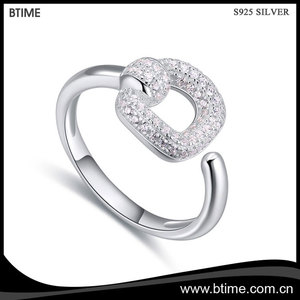 Wholesale women fashion jewelry cubic zirconia S925 sterling silver ring adjustable open ring
