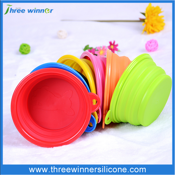Dog Silicone Collapsible Feeding pet bowl for promotion