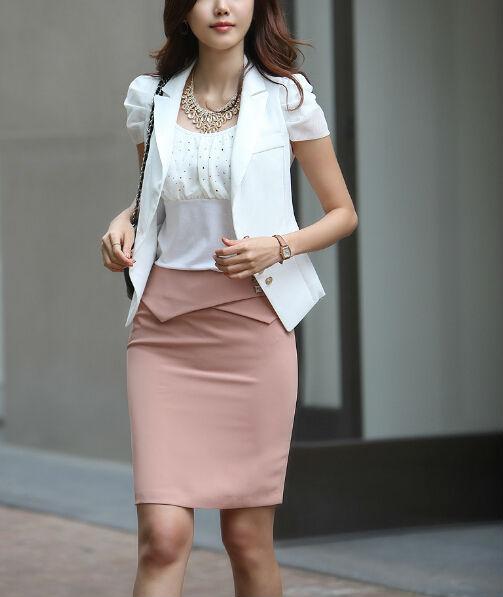 b15ec914dd Falda elegante trajes para oficina damas primavera trajes de falda corta
