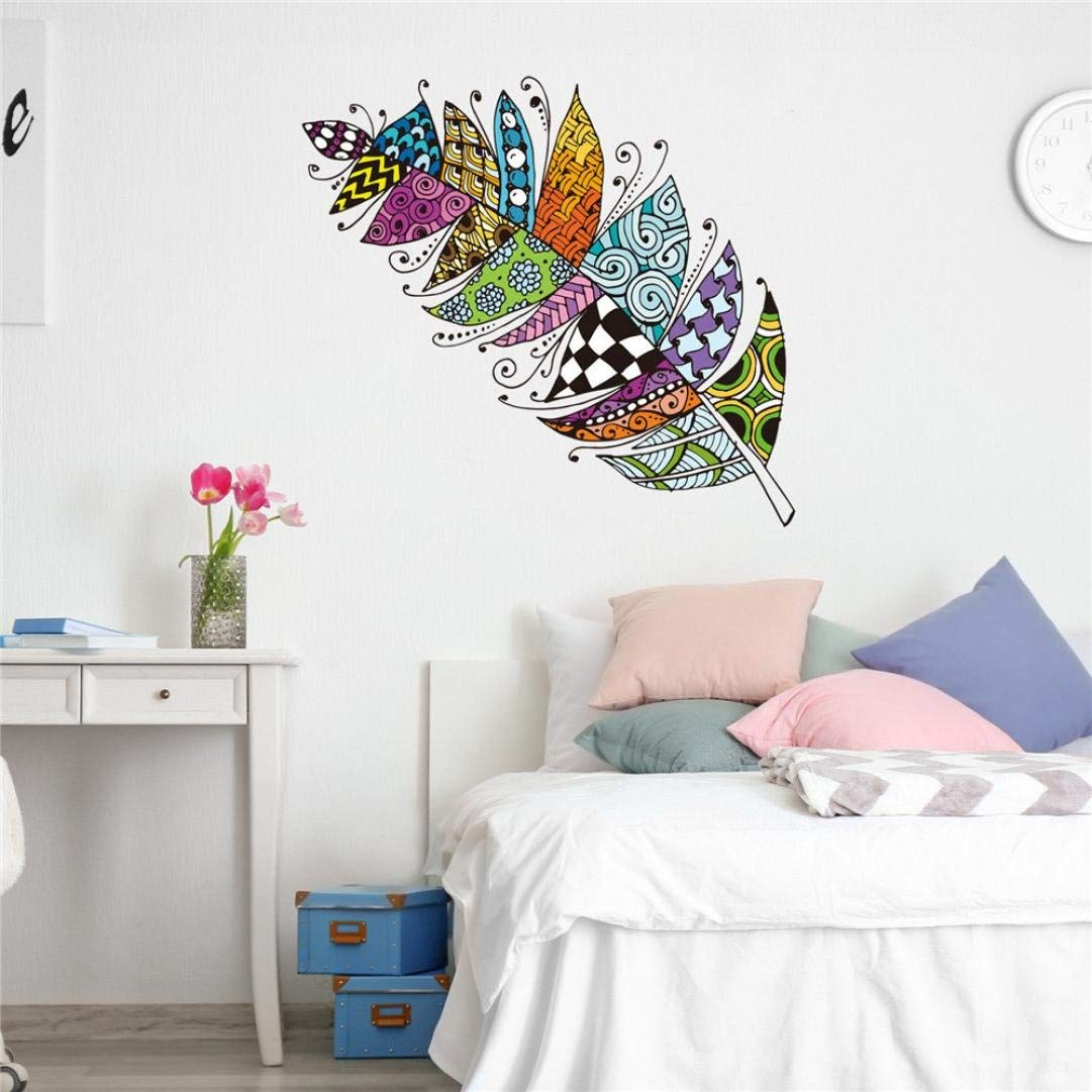 Rumas Retro Feather Wall Stickers for Kids Room, Removable DIY Colorful Wall Murals Peel and Stick, Wall Declas Home Decor for Living Room Bed Room Bathroom (Multicolor)