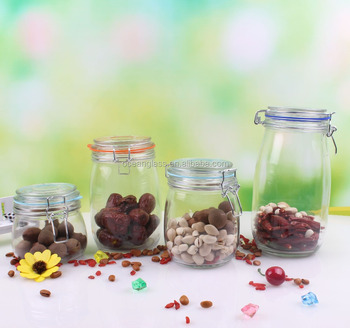 5 Sizes Food Used Glass Storage Jar With Rubber Seal And Metal Clip Glass  Lid