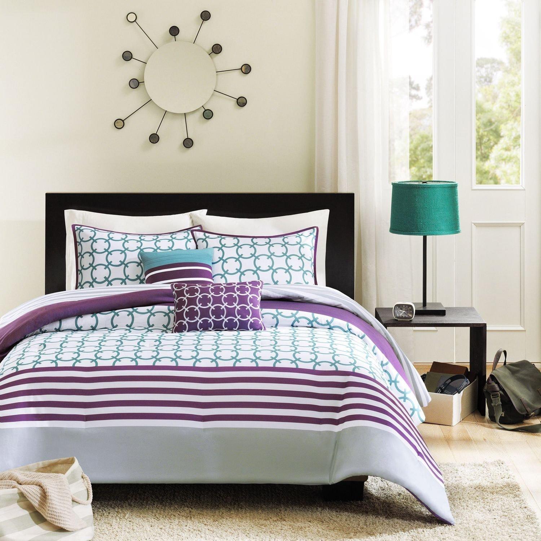 4b60904c9 5 Piece Green Purple Grey Geometric Stripes Pattern Comforter Full Queen Set