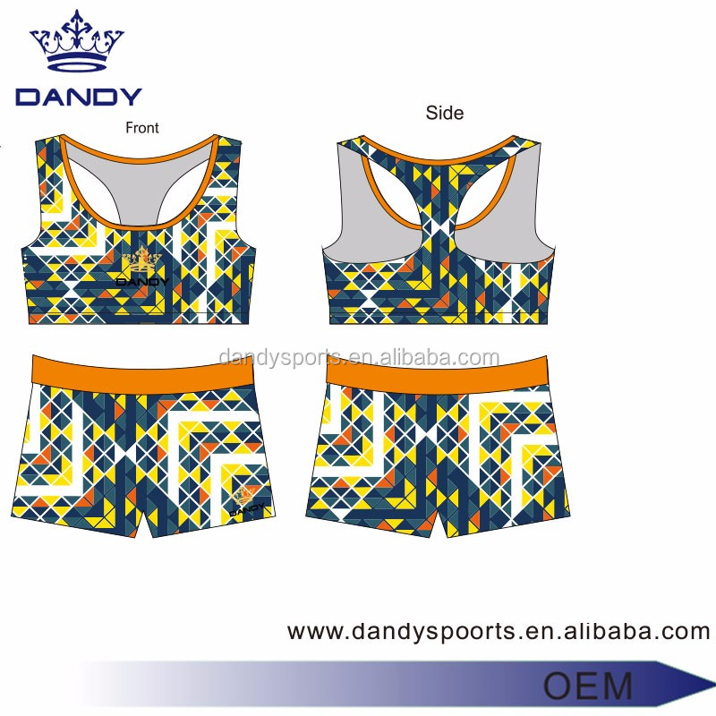 OEM Free artwork service small moq custom cheerleading uniform cheer sport bra and shorts with sublimation