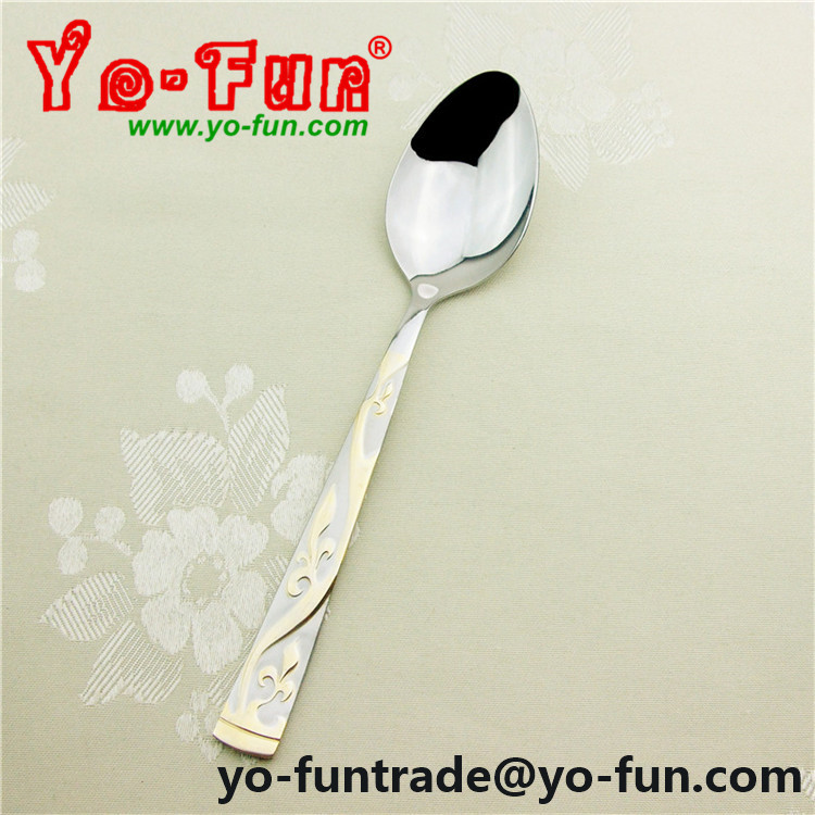 JBS002 Denmark luxury restaurant stainless steel table golden tea spoon
