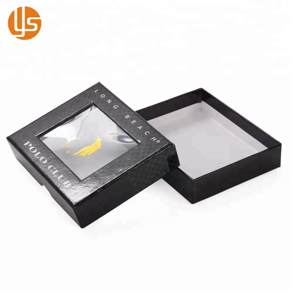 싼 Custom Black Color Rectangle Open 판지 Pvc 창 종이 포장 Gift Box 와 Clear Lid