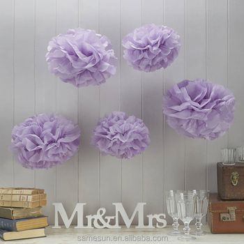 Purple Hanging Tissue Paper Flower Ball For Party Supplies