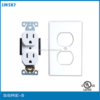 15 amp 125V UL listed double all power electrical switched socket outlet