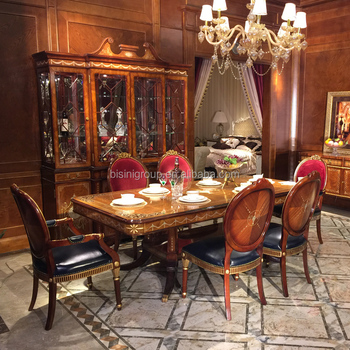Luxurious Royal English Victorian Style Wood Carving Boulle Long Dining Table With Chairs And Credenza Bf12