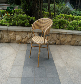 Bamboo Frame Stackable Rattan Garden Dining Chairs For