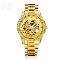 18K automatic mechanical gold watch men with PVD plating with wooden watch box