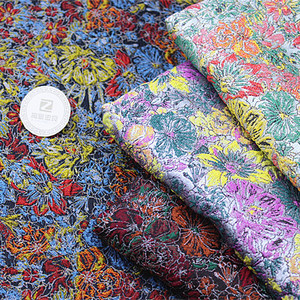 Colorful flower jacquard fabric little MOQ 50m only