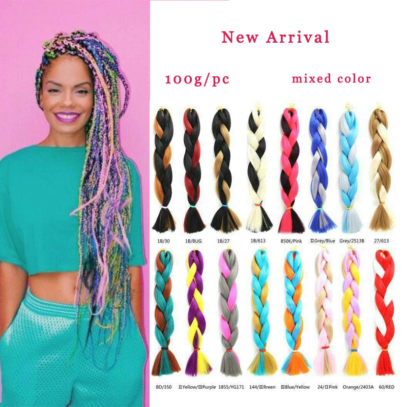 Afro Synthetic Braiding Hair Expression Mixed Color Crochet Box Braids Jumbo Ombre Braid Two Colored Blue