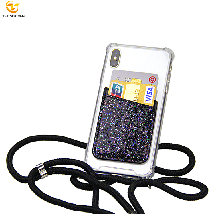 For iPhone Xs Max PPM Strap Necklace Mobile Case Chain Rope Phone Case with Card Holder