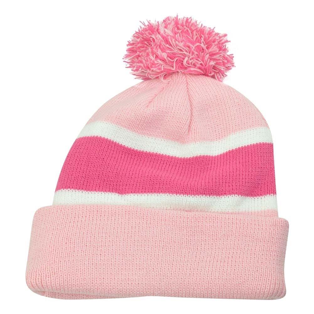 Plain Blank Striped Cuffed Women Ladies Pink Beanie Pom Pom Knit Thick Hat  Toque e8775dd05667