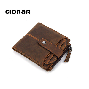 Gionar New Purse Sale Quality Low Price Mens Crazy Horse Leather Coin Bill fold Designer Zip Extra Large Wallets for Mens