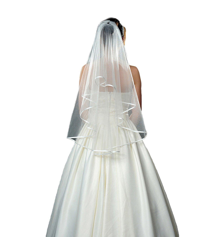 AliceHouse 2T 2 Tier Pencil Edge Bridal Wedding Veil Ivory White MV16