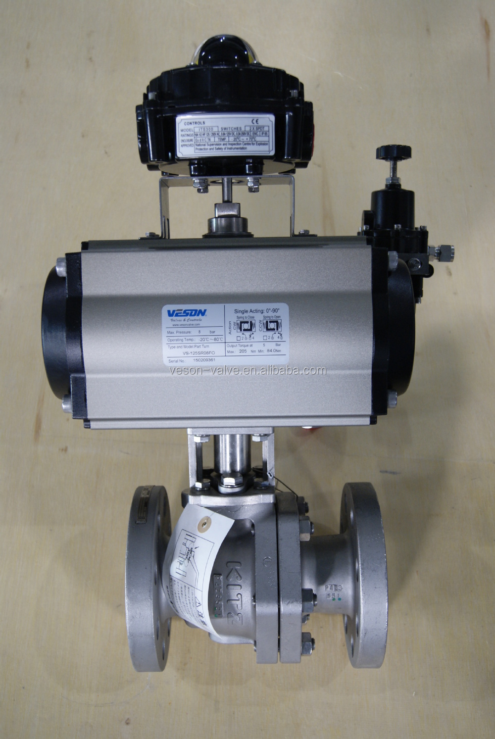 Kitz Ball Valve With Spring Return Pneumatic Actuator