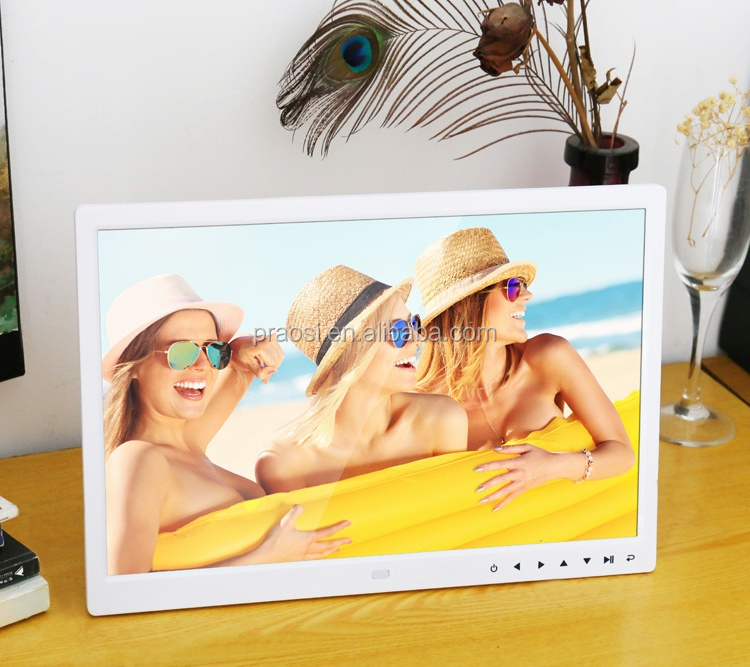 cheapest best selling White Black 15 inch HD LCD LED Digital Photo Frame Picture Frame with Slideshow Touch Key