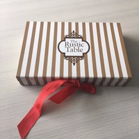 Elegant cardboard paper big size wedding favor gift box with red ribbon