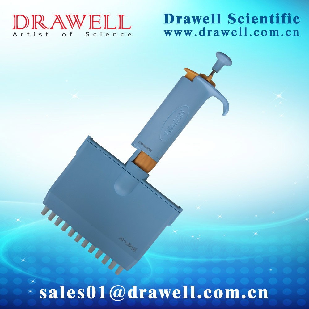 Drawell 12-channel MultiChannel 0.2 ml plastic variable pipette