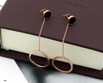 New Simple Design Black Round Tag Big Circle Long Drop Cute Earrings