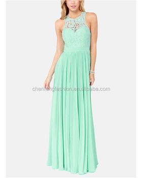Mint color maxi dress