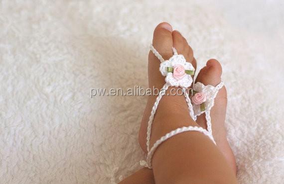 Bébé fille aux pieds nus sandales Crochet sandales bébé nouveau , né fille  Crochet chaussures bébé