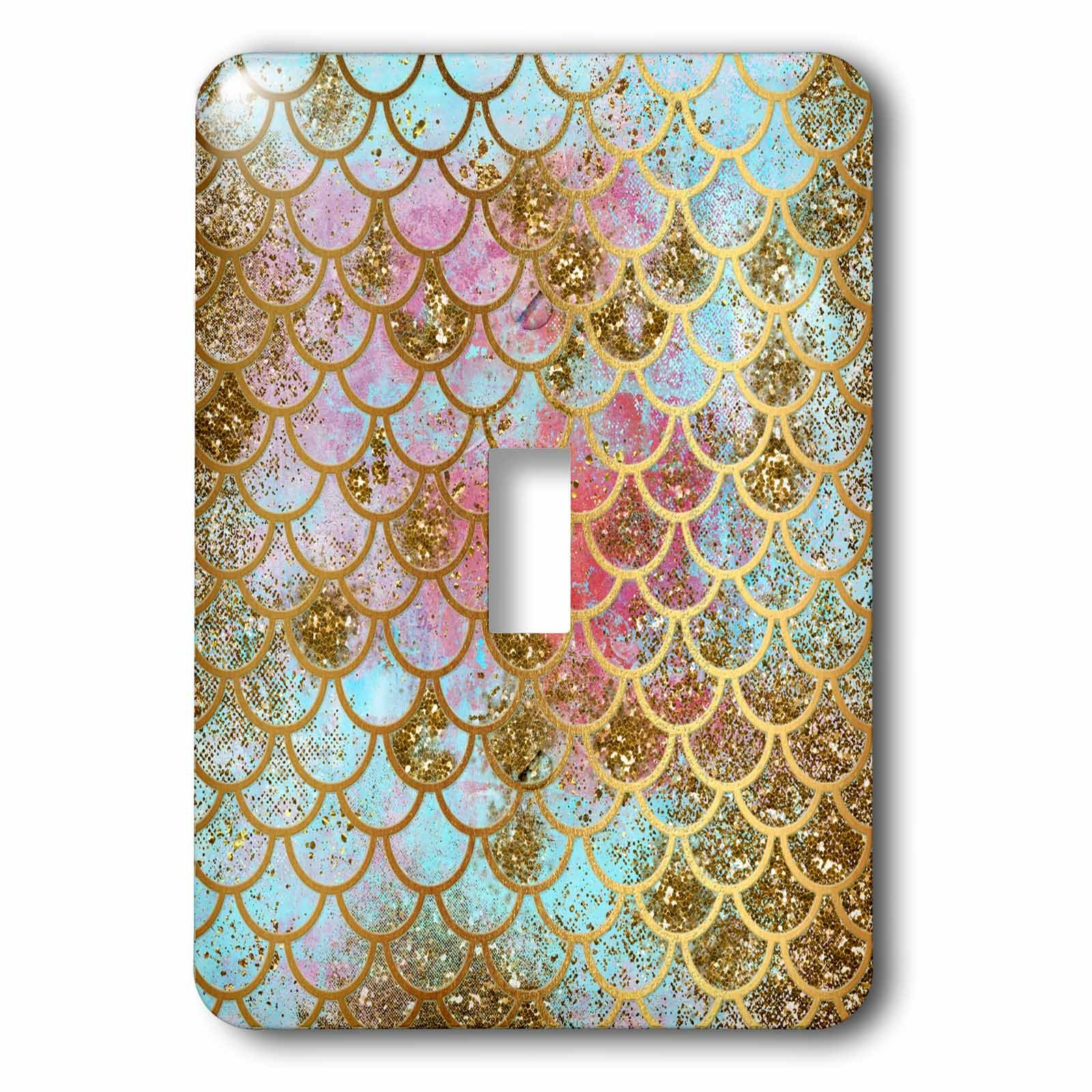 3dRose (LSP_266933_1 Single Toggle Switch Sparkling Pink Luxury Elegant Mermaid Scales Glitter Effect Art Print