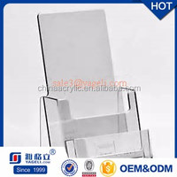 Customized acrylic brochure holder magazine display for 3-tier