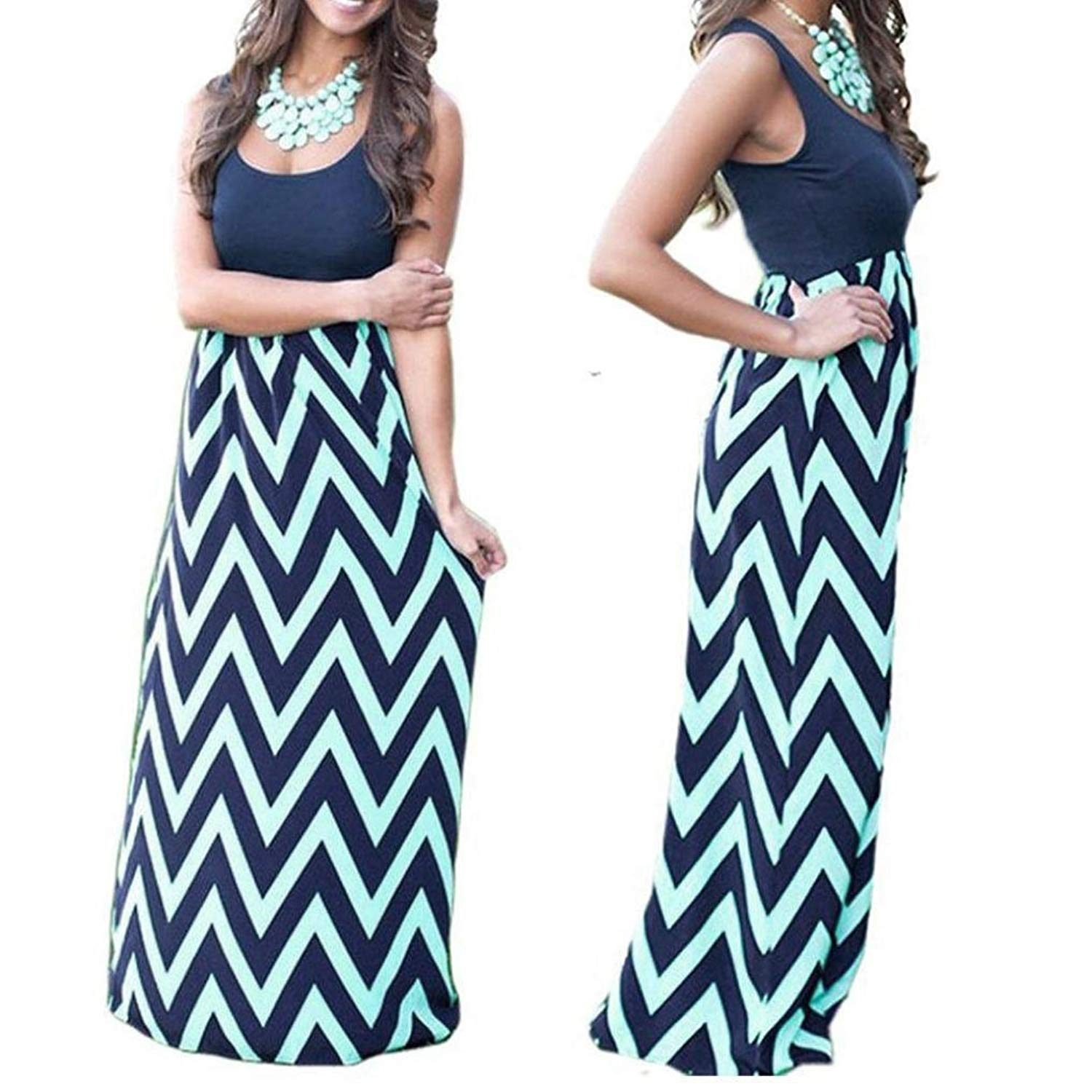 ab06b4144ae Get Quotations · Womens Wave Striped Summer Beach Dress Party Long Maxi  Dresses