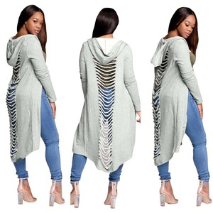 women cutting details ladies open front long cardigan with hood