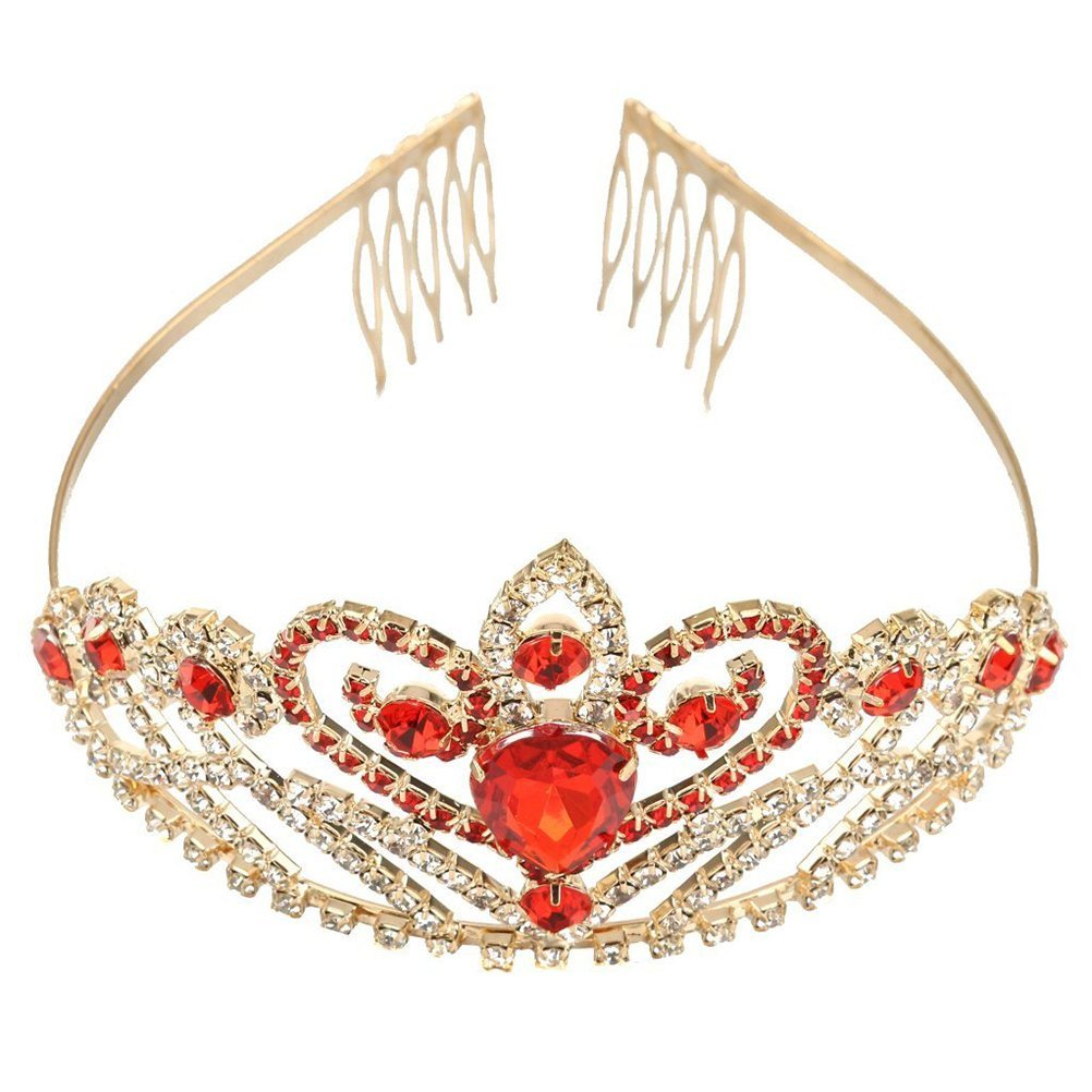 Tinksky Crystal Rhinestone Gold Red Hair Tiara Crown with Comb Wedding Party Bridal Headband Wedding Valentine's Day gift