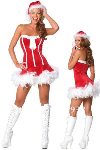 b4027eacc09 Get Quotations · Free Shipping Women skintight and strapless Santa christmas  corset wear dress costumes