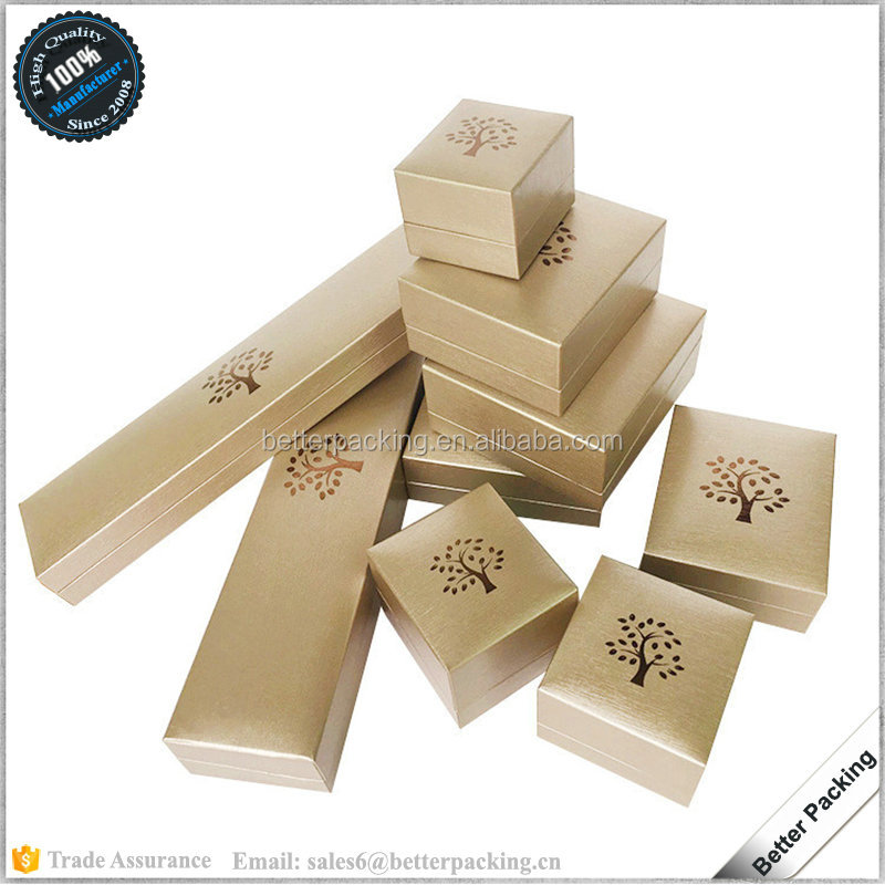 Shinny Gold Paper Customize Logo Jewellery Ring Box lining Velvet