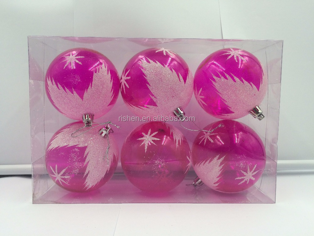 wholesale pink clear christmas ornaments ball unique christmas ornaments