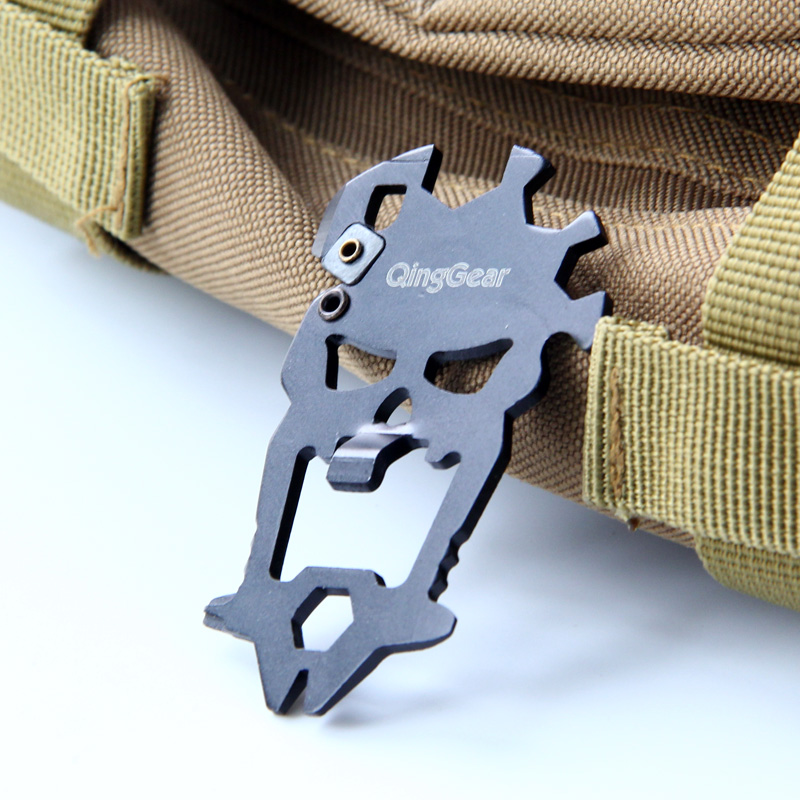 QingGear 12 in 1 Skull Shape Multifunctional Pocket Tool Wallet Handy Tool EDC Tool
