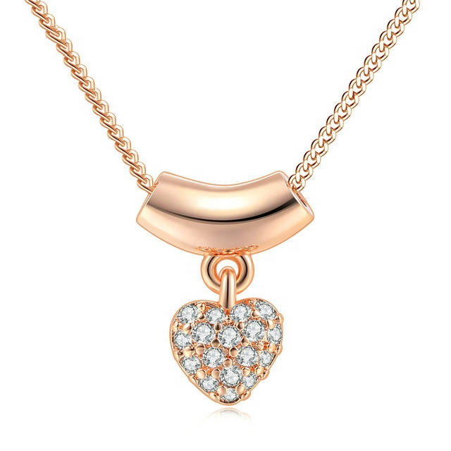Factory <strong>fashion</strong> wholesale rose gold/silver color heart pendant zircon necklace for women N230 N246