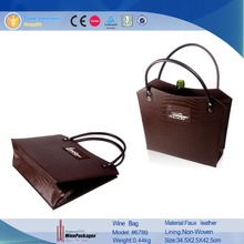 New products Faux PU leather wine bag wine tote bag with stamping logo