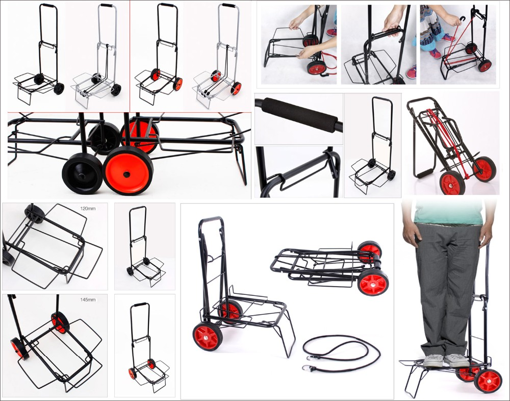 Folding hand trolly stair climbing hand truck with 2 wheels