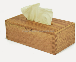 High quality red oak wooden tissue box