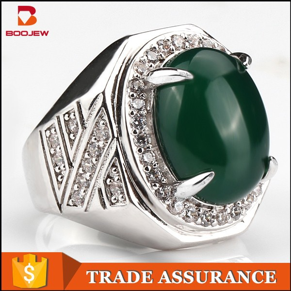 669d26d483 Newest stone ring designs for men green agate men emerald silver ring