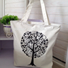 Custom printing life tree cotton canvas zipper tote bags or everyday bag