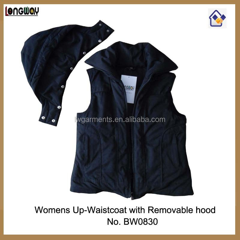Padded Casual Body Warmer with Detachable Hood Womens Black Casual Body Warmer Vest