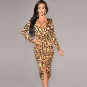 New Sexy Women Bodycon Dress Leopard Print V-Neck Long Sleeve Split Clubwear Party Dress