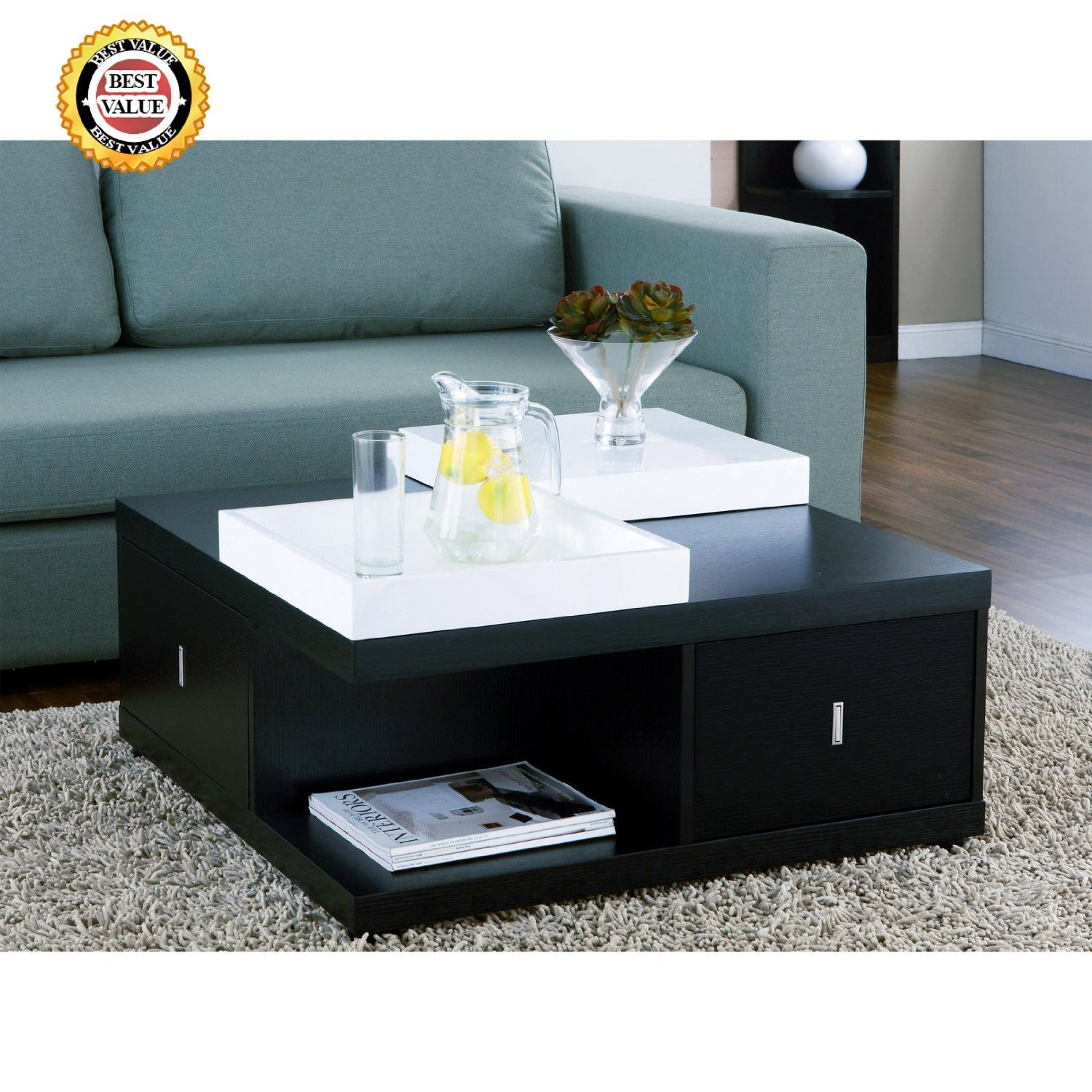 CONTEMPORARY, Modern, Black, Square Mareines Coffee Table with Storage & White Serving Trays. ELEGANT Dark Wood Color & Design Pairs Well with Furniture of ALL Sizes for Living Room & Patio Furniture. BEST Gift Ideas for Weddings, Housewarming, Birthday & HOLIDAYS!