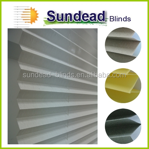 bottom up polyester yarn pleated blinds plissee 2016 new product
