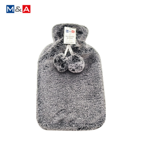 2L Faux Fur Hot Water Bottle with pompoms
