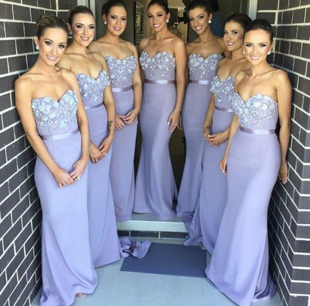 c0b22dd0f99f Mermaid Lilac Bridesmaid Dresses Chiffon Long Decorated with Flowers  Beadeds Dusty Blue Elegant Wedding Guest Dresses Plus Size-in Bridesmaid  Dresses from ...