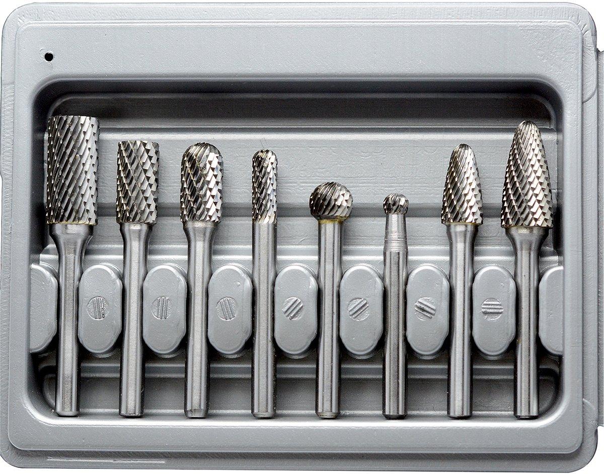 Carbide Burr Set 5pcs Double Cut Solid Carbide Rotary Burrs 1//4 Shank Gray