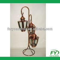 Indoor and outdoor decoration metal lantern tree in copper plated finish including 3 lanterns ML-001